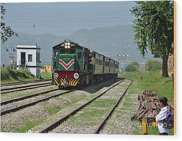 Wood Print featuring the photograph Diesel Electric Locomotive Speeds Past Student by Imran Ahmed