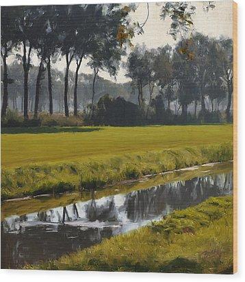 Wood Print featuring the painting Diessen Baarschot River Landscape by Nop Briex