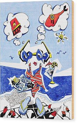 Dieta - Vacaciones Humor Y Ocio Wood Print by Arte Venezia