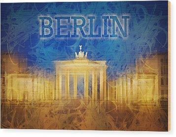 Digital-art Brandenburg Gate II Wood Print by Melanie Viola