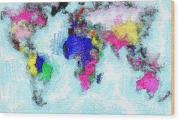 Digital Art Map Of The World Wood Print
