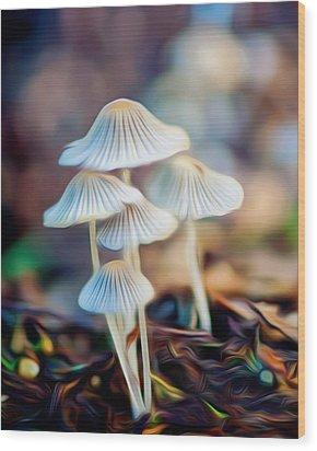 Digital Art Mushrooms Wood Print by Tammy Smith