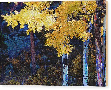 Digital Aspen Wood Print by Linda Cox
