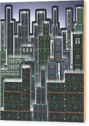 Digital Circuit Board Cityscape 3d - Glow Wood Print by Luis Fournier