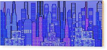 Digital Circuit Board Cityscape 5c - Blue Haze Wood Print by Luis Fournier