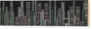 Digital Circuit Board Cityscape 5d - Blacktops Wood Print by Luis Fournier