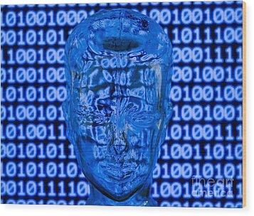 Digital Head Wood Print by Shawn Hempel