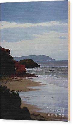 Digital Painting Of Smiths Beach Wood Print