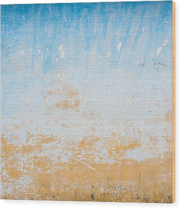Dilapidated Beige And Blue Wall Texture Wood Print