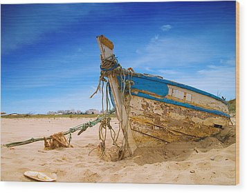 Dilapidated Boat At Ferragudo Beach Algarve Portugal Wood Print by Amanda Elwell