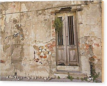 Dilapidated Brown Wood Door Of Portugal II Wood Print by David Letts