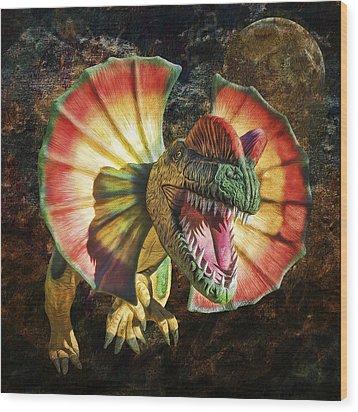 Dilophosaurus Spitting Dinosaur Wood Print