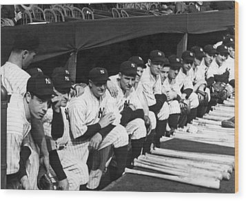 Dimaggio In Yankee Dugout Wood Print by Underwood Archives