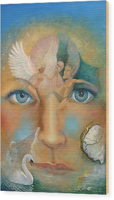 Dimensions Of The Mind Wood Print by Peter Jean Caley