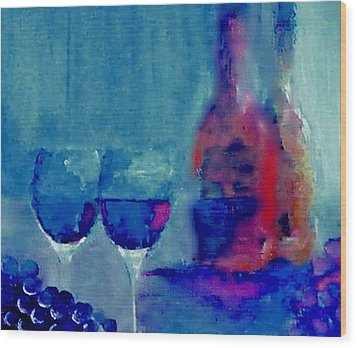 Dine With Wine Wood Print by Lisa Kaiser