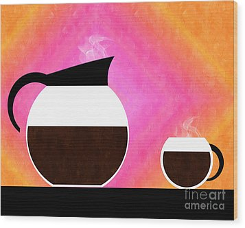 Diner Coffee Pot And Cup Sorbet Wood Print by Andee Design