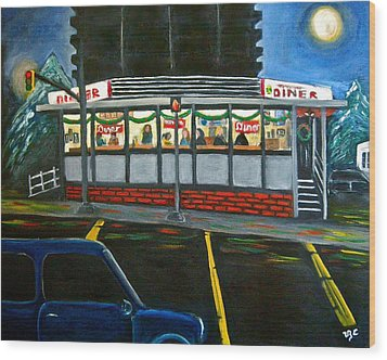 Diner In Arlington Wood Print by Victoria Lakes