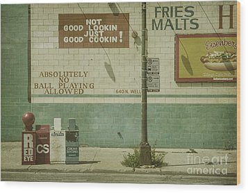 Diner Rules Wood Print by Andrew Paranavitana