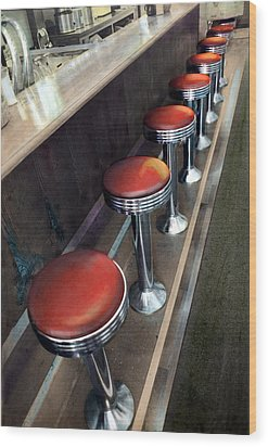 Diner Stools Wood Print