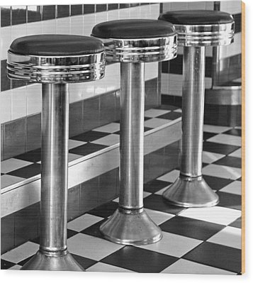 Diner Stools Wood Print by Lisa Phillips
