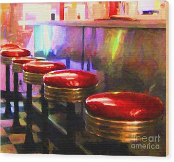 Diner - V2 - Horizontal Wood Print by Wingsdomain Art and Photography
