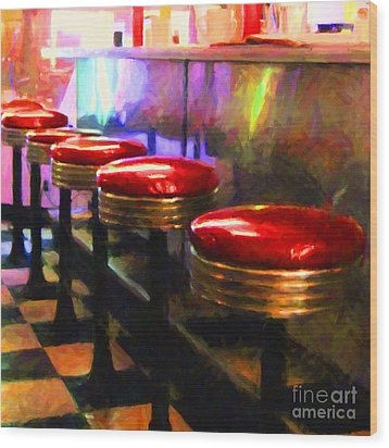 Diner - V2 - Square Wood Print by Wingsdomain Art and Photography
