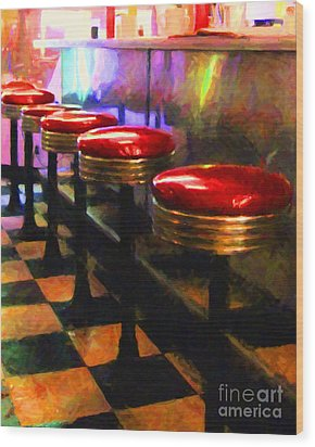 Diner - V2 Wood Print by Wingsdomain Art and Photography