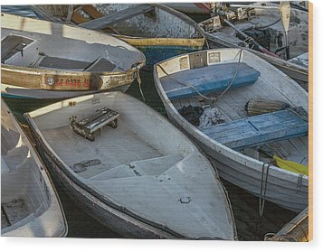 Dinghies Wood Print by Peter Tellone
