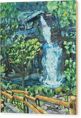 Dingman Falls Eastern Pennsylvania Wood Print by Michael Daniels