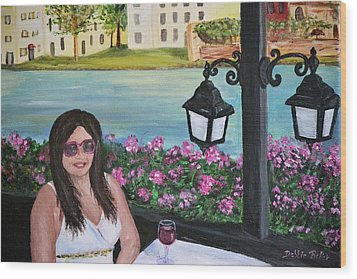 Dining In Venice Wood Print by Debbie Baker