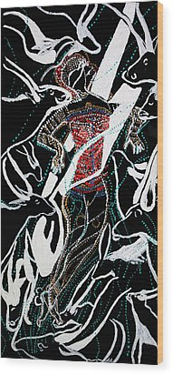 Wood Print featuring the painting Dinka Dance by Gloria Ssali