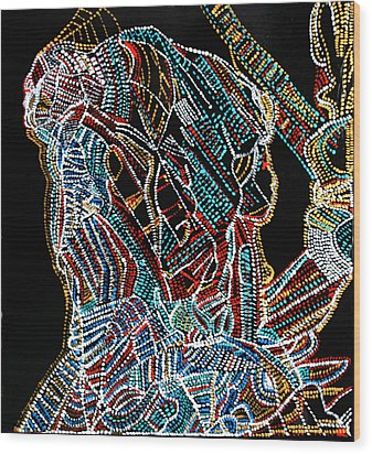 Wood Print featuring the painting Dinka Warrior by Gloria Ssali