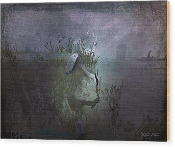 Wood Print featuring the digital art Dinner Alone by Kylie Sabra