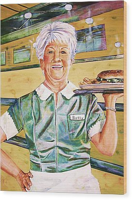 Dinner Betty Wood Print by Linda Vaughon