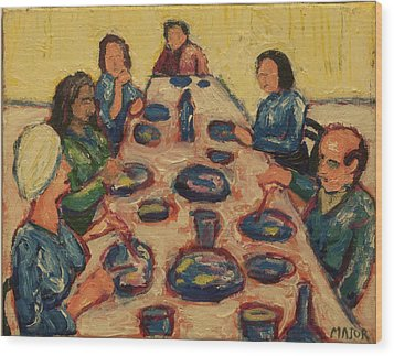 Wood Print featuring the painting Dinner Party by Clarence Major