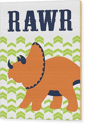 Dino Rawr Wood Print by Tamara Robinson