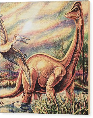 Dinos Wood Print by Linda Shackelford