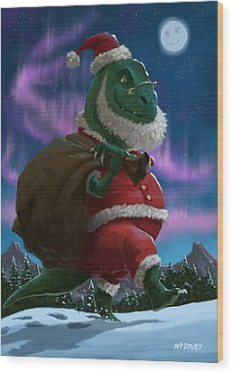 Dinosaur Christmas Santa Out In The Snow Wood Print by Martin Davey