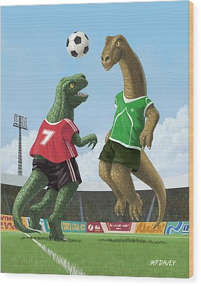 Dinosaur Football Sport Game Wood Print by Martin Davey