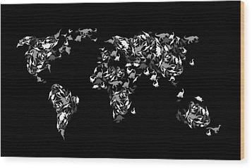 Dinosaur Map Of The World 3 Wood Print by Mark Ashkenazi
