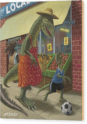 Dinosaur Mum Out Shopping With Son Wood Print by Martin Davey