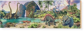 Dinosaur Volcanos Wood Print by Steve Read