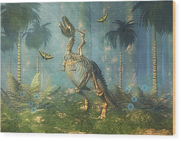 Dinosaur Warrior  Wood Print by Carol and Mike Werner