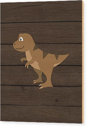 Dinosaur Wood Iv Wood Print by Tamara Robinson
