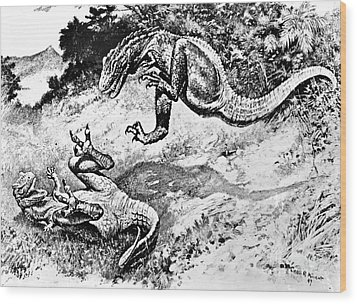 Dinosaurs Fighting Wood Print by Science Source