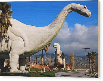 Wood Print featuring the photograph Dinosaurs Of Cabazon by James Kirkikis