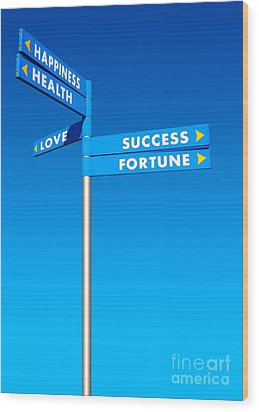 Directions To Goals Wood Print by Carlos Caetano