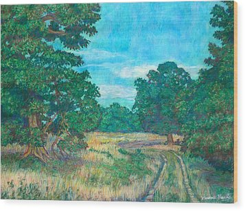 Wood Print featuring the painting Dirt Road Near Rock Castle Gorge by Kendall Kessler
