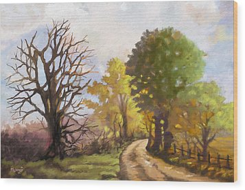 Wood Print featuring the painting Dirt Road To Some Place by Anthony Mwangi