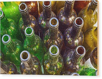 Dirty Bottles Wood Print by Carlos Caetano